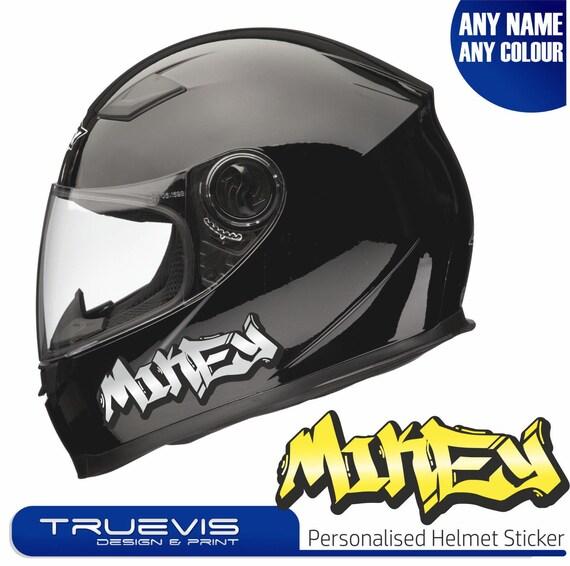 2 x personalised motorbike name stickers helmet name