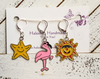Flamingo Sun and Starfish Progress Keepers Stitch Markers Summer Bright Knitting Crochet Sewing Notions Gift Ideas
