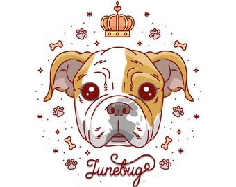 Custom pet portrait, Custom dog painting, Custom dog cartoon, Pet illustration, Dog illustration, Personalized pet, Bulldog illustration