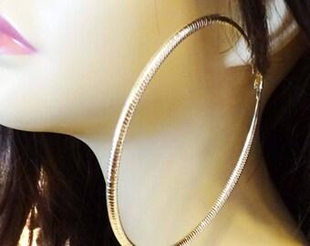 Large 4 inch Hoop Earrings Textured Gold or Silver tone Hoop Earrings Round Circle Hoops