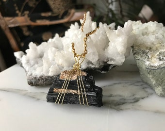 Natural Black Tourmaline Pendant - Brass Wire Wrapped Black Tourmaline Pendant - Natural Healing Jewelry - Raw Crystal Necklace