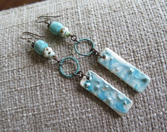 aqua earrings, beach earrings, vacation earrings, cruise earrings, resort earrings, summer earrings, white and aqua earrings, shabby chic