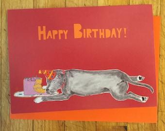Sleeping Dog Birthday Card