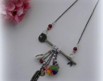 Necklace for women key feather pom pom snail coin summer mom gift tribal ethnic boho bohemian for her nomade hippie buddha asiatic teacher