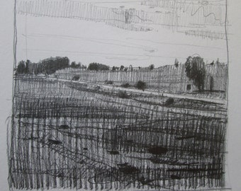 On 10, Original Fall Landscape Drawing in Pencil, Stooshinoff