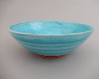Ceramic Serving Bowl - Handmade Pottery Bowl- Turquoise and Terracotta Mixing Bowl