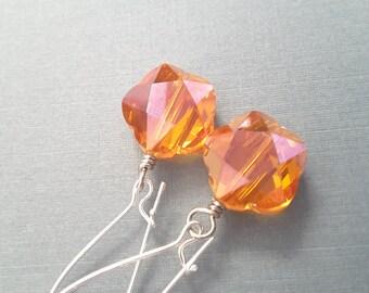 Vibrant Orange Faceted Flowers . Earrings