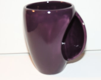 Hand made ceramic Snuggle Mug, hand warmer mug.  Unique Purple glaze.