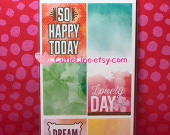 Large Planner Phrase Box Stickers by Recollections - 30pc/pack - Gold Foiled Accents/Planner Daily Box/Watercolor Stickers