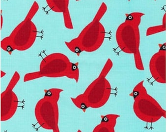 Robert Kaufman Fabric Cardinals Aqua from Jingle 4 Collection by Ann Kelle, Choose your cut