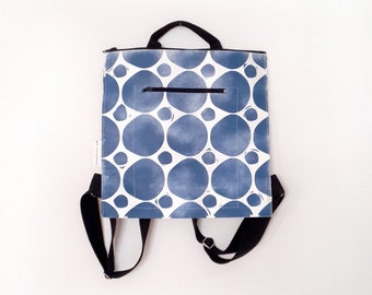 city style, blue dots backpack, urban style, eco friendly bag, Unisex bag, Carry all Bag, Hand printed, Vegan bag, OOAK, mothers day gift