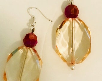 Yellow and  Red-Drop Earrings 2 inches