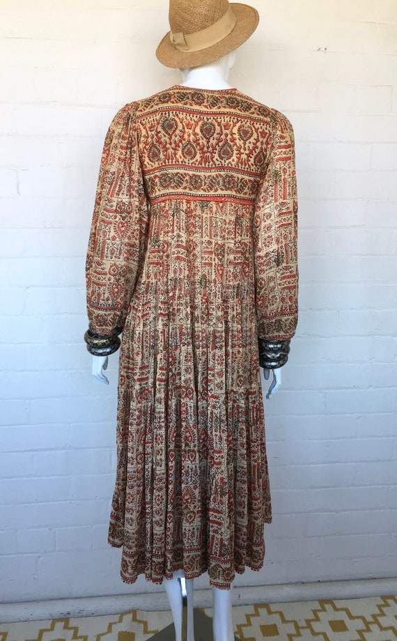 Bohemian Boho Gauze India 70s Festival Print Indian Dress Vintage Cotton Dress Block Dress Ethnic Hippie wY7aSWqx