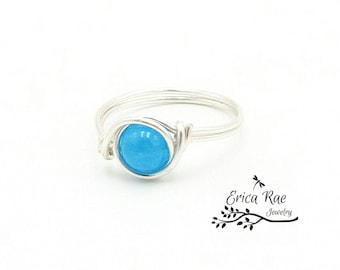 Turquoise blue jade ring, beaded wire wrapped ring, beaded ring, blue ring, silver ring, boho ring, boho jewelry, wire jewelry