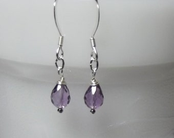 Small Amethyst Earrings, Bridesmaid Gifts, Dangle Earrings, Silver Earrings, Mothers Day Gifts, Sister Jewelry