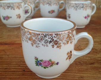 Vintage French Paris porcelaine espresso cups -  set of 6