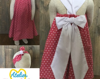 Pink heart white scalable dress