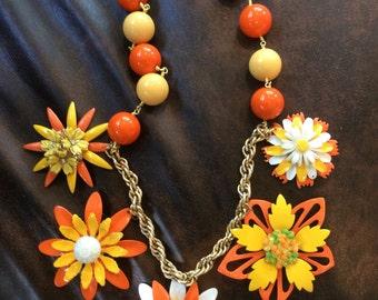 Fun Yellow and Orange Enamel Flower Necklace