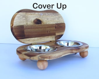 Pet bowl stand with lid COVER UP II S - elevated dog bowl holder - elevated cat dish - raised pet dishes - cat bowl holder