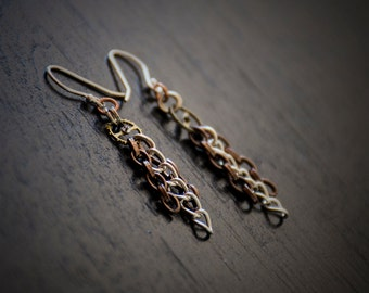 Steampunk Earrings Gears and Chains - Copper and Silver - Vintage Gears - Sterling Silver Earwires - Post-apocalyptic Jewelry
