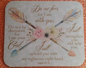 Do Not Fear Mouse Pad, Isaiah 41:10, Scripture, Christian Mouse Pad, Bible Verse, Arrow Mouse Pad Mint Coral Bible, Next DAY Shipping