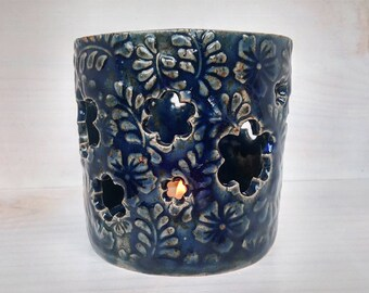 Handmade Ceramic Lantern, Floral Luminary, Blue Tealight Candle Holder, Dark Blue Tea Light Holder, Pottery Candle Holder, Candle Burner