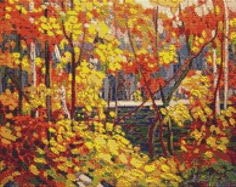 Autumn Cross Stitch Kit, The Pool Cross Stitch, Embroidery Kit, Art Cross Stitch, Tom Thomson