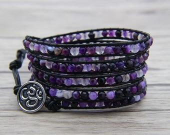 Bead Cuff bracelet Purple Onyx agate bead bracelet YOGA bead wrap bracelet leather wrap bracelet boho bracelet OM Charm bracelet SL-0555