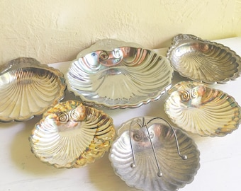 Collection Vintage Silver Plated Sea Shell Dishes 6 Six
