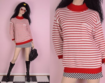 80s Red and White Striped Sweater/ Medium/ 1990s
