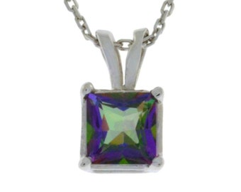 1 Ct Mystic Topaz Princess Cut Pendant .925 Sterling Silver Rhodium Finish