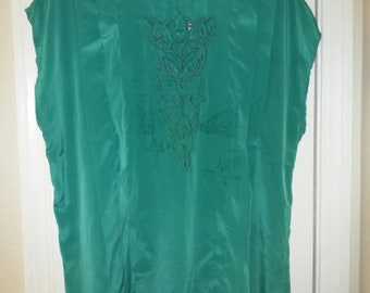 Jade Green Blouse Sz 16, Short Sleeves