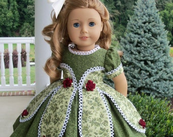 """PRINTED SEWING  PATTERN for 18 Inch Doll Clothes /  Historical 1850's Petal Gown by Farmcookies / Fits American Girl® or Other 18"""" Dolls"""
