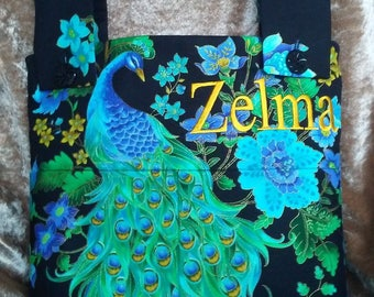 Special Listing for Margaurite--Personalized Peacock and Plumes Blue Walker Bag