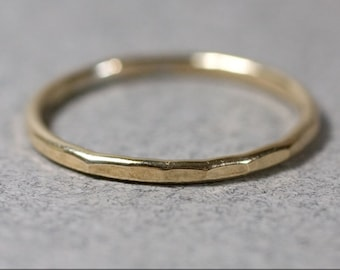 Hammered 14k Gold Filled Ring Handmade Stacking 14 gauge 14g 925 forged stacker stacking band