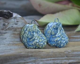 Shell Shards- Handmade Porcelain  Bead Pair