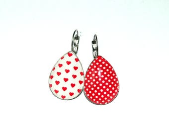 Earrings hearts and dots