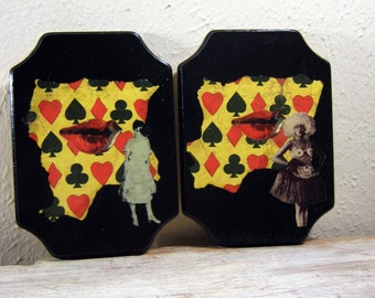 Collage on Wood, Mixed Media Art, Black Art, Black History Month, Wall Hanging, Red, Black, Yellow, Modern Vintage, Handmade