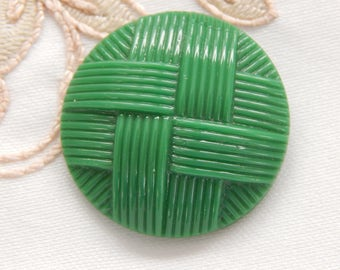 Green Glass Vintage Button - Woven Ribbon Design
