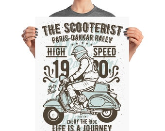 The Scooterist High Speed Journey Paris Dakkar Rally Scooter Adventure Poster