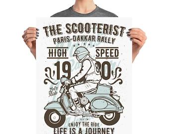 The Scooterist High Speed Journey Paris Dakkar Rally Scooter Adventure Poster