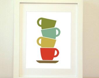 Mid Century Modern Cups - Framed 8x10 Print