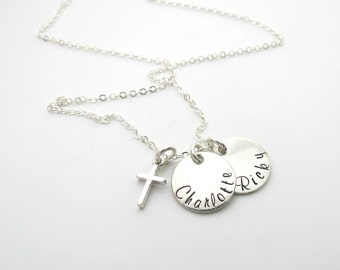 Personalized Cross Necklace - Custom Name Jewelry - Mother - Womens Necklace - Baptism Gift - Godmother Gift - Childs Necklace - Grandma