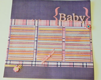12x12 Premade Baby Scrapbook Layout- Baby Girl
