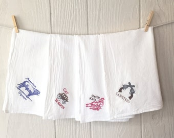 Flour Sack Towels - Cowgirl Collection - Country Kitchen - Embroidered Tea Towels - Kitchen Towels - Western Kitchen Decor - Set of 4 - West