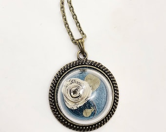 Book Page Flower Terrarium Pendant Necklace. One of a kind.
