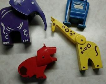 Vintage playskool lot of 4 zoo animals