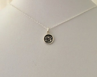 Egyptian EYE of HORUS/ RA round small disc sterling silver pendant and necklace chain