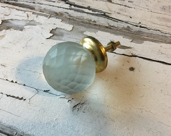 Glass Faceted Knobs, Old Fashioned Round Decorative Furniture Pulls, Drawer Knob, Cabinet Replacement Knobs, Item #471479874