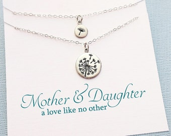 Dandelion Necklace   Mother Daughter Jewelry Set, Gifts for Mom, Mother Daughter Gift Set, Mom Gift for Mothers Day, Gift for Mom    MD04